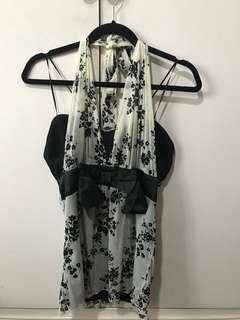 Backless black and white top