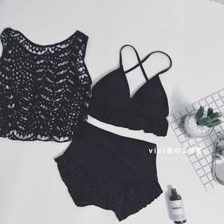 [OH_JUMP] 日系少女簡約泳衣三件套可愛蕾絲罩衫高腰溫泉平角比基尼泳装