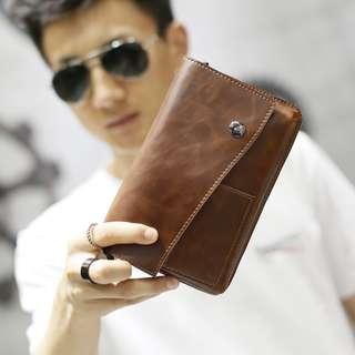 [PRE-ORDER] Men's Brown Leather Clutch Bag Zipper Coin Pocket Mobile Case Small Wallet