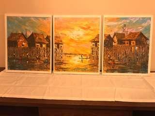 Authetic keo sopheap canvas hand oil painting spatula art sunset water village