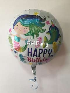 (12/6) Include helium Happy Birthday Mermaid under the sea foil balloon