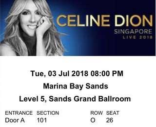 1x Category A Ticket - Celine Dion Singapore Live 2018