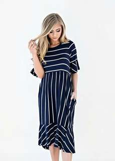 🐊Stripe Patch Pocket Dress 2 colors