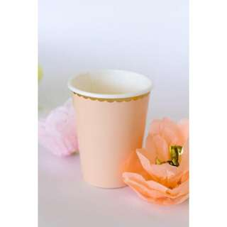 Pink scallop gold foil disposable party cups