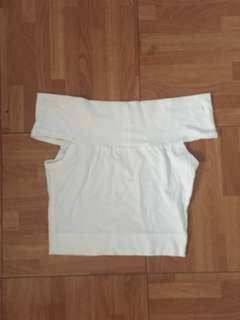 White Fitted Off shoulders Cropped Top