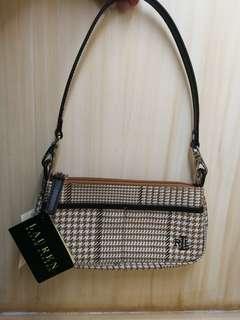 Authentic Ralph Lauren Brown Houndstooth Vintage Mini Shoulder Bag