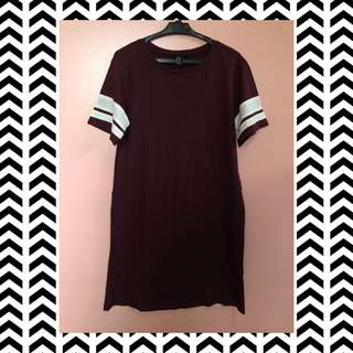 Forever 21 Maroon T-Shirt Dress