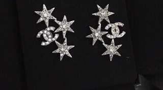 Chanel 星星閃鑽水晶耳環