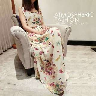 🐊Chiffon With  lining  floral  Maxi Dress