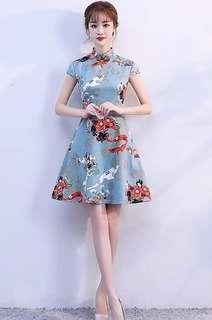 Mandarin collar skater dress