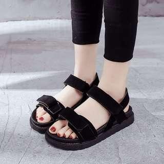 [PRE-ORDER] Women Roman Sandals Thick Soled Summer Beach Fashion Plus Size Sandals [Black/Pink]