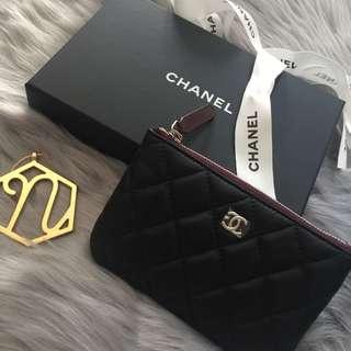Chanel Pouch/Coin Purse 散字包 黑色羊皮銀字