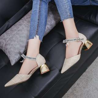 [PRE-ORDER] Women Plaid Fabric Sandals Thick High Heel Pointed Toe Chic Fashion Ladies Shoes [White/Grey]