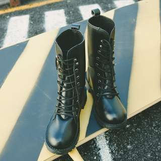 [PRE-ORDER] Women Black Military Boots Lace Up High Fashion Boots Couple Plus Size Shoes