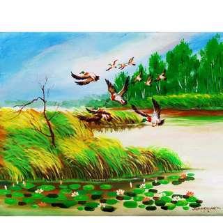 "'Fish Hunting"" Acrylic Painting"
