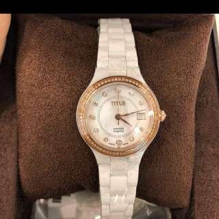 原廠正貨❗️限量一隻🔥titus77粒真鑽石陶瓷腕錶