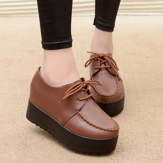 [PRE-ORDER] Women Round Joker Shoes Lace Up High Heels Platform Plus Size Shoes [Brown/Black]