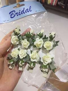 Pretty Wedding Bridal Floral Flower Pegs Rustic Photo Clips