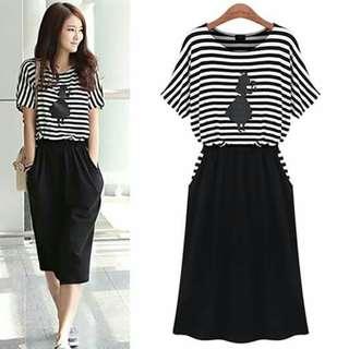 🐋Stripe top and plain bottom dress