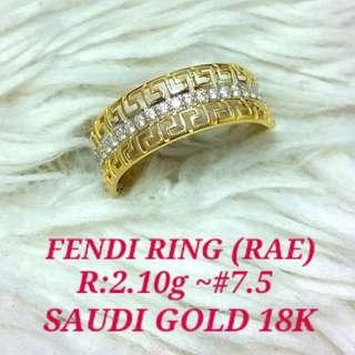 ( size: 7.5 ) 18K SAUDI GOLD RING  .,.,
