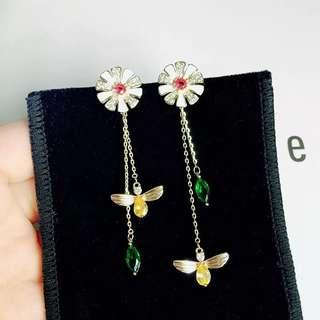 韓國花朵蜜蜂長款氣質耳釘女不對稱百搭個性耳環日韓耳飾品