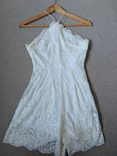 White halter neck criss cross lace playsuit size 6