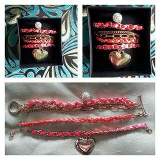 Pink Heart Charm Bracelet Stack