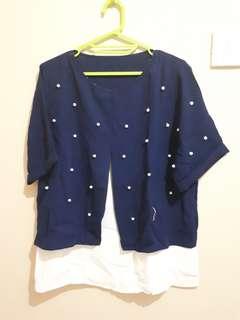 Preloved - blink navy blouse
