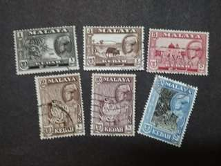 Malaya 1957 Kedah Sultan Abdul Hamid Halimshah Loose Set Up To 50c - 6v Used Stamps