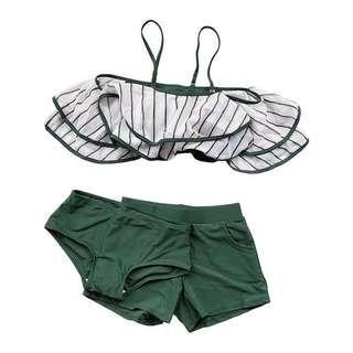 [OH_JUMP] 夏日海邊度假泳裝個性荷葉邊鋼圈泳衣三件套