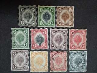 Malaya 1911 1919 Kedah Rice Sheaf Loose Set Up To 8c - 11v Used & Mint Stamps