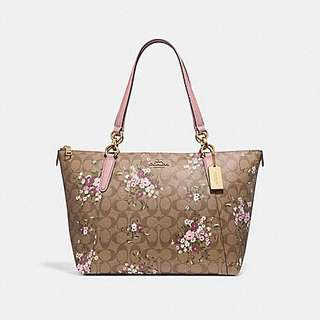 AVA TOTE IN SIGNATURE CANVAS WITH FLORAL BUNDLE PRINT