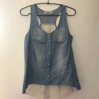 Just G Denim and Lace Tank Top