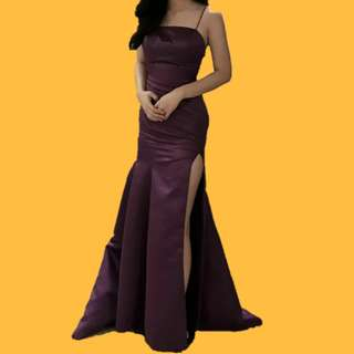 Plum Violet Mermaid Gown For Rent
