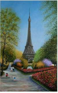 BN Handpainted Painting - Eiffel in Spring (original  $618)