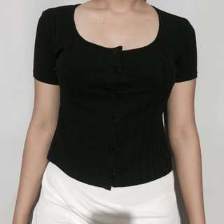 Black Ribbed Button-down Top