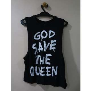 Black 'God Save the Queen' Muscle Tee