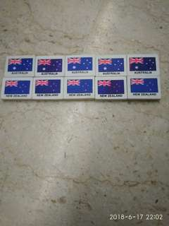 10 AUSTRALIA AND NEW ZEALAND COUNTRY ERASERS
