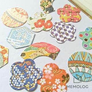 Traditional Japanese Origami and Yuzen Sticker Flakes with Gold Foil