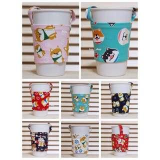 🚚 [hsu__shop]現貨 ♻️ 彩色環保飲料提袋  狗狗系列款 柴犬 飲料杯套 飲料袋