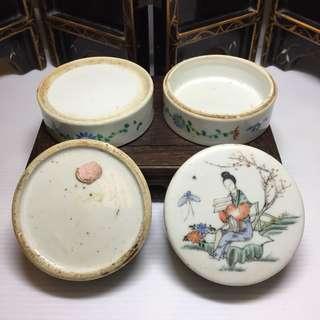 Antique 3 tier porcelain powder box