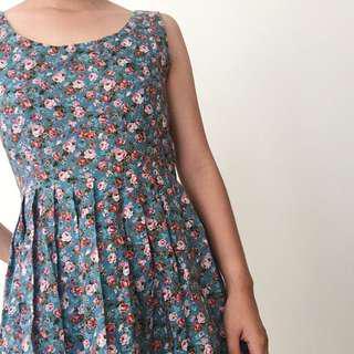 Korea Flower Print Summer Dress Skater Skirt