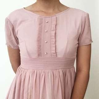 Vintage Dress Baby Doll Broken Rose Pink Dress Pesta