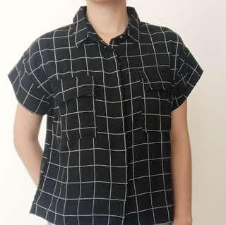 Kemeja Kerja Hitam Black Grid Crop Shirt