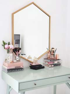 Hanging Hexagon Mirror Copper Gold