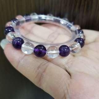 潮流紫水晶配搭白水晶手珠