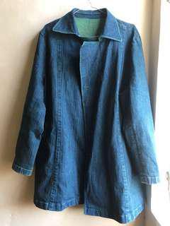 green denim long jacket/coat
