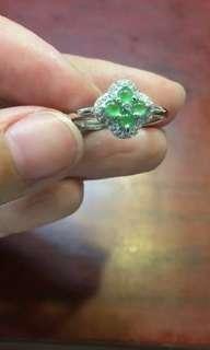 天然翡翠A貨18K金鑲嵌戒指 活口