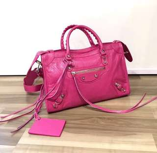 Balenciaga City Bag Classic City S 桃紅色 Size: W30cm x H 21cm x D10cm Real and New