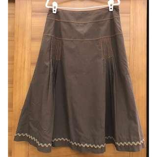 咖啡棉質裙